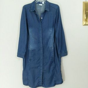 Distressed Denim Button Down Maxi Dress